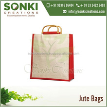 Stylish Two Tone Color Reusable Jute Shopping Bag with D-cane Handles