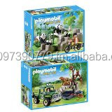 Pandas in Bamboo Forest and Jungle Animals with Researcher and Off-Road Vehicle