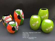 Wood lacquer candle holder with crackle eggshell dragon fly, made in Vietnam- http://lacquerhomevn.com/