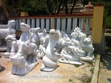 Hand Carved Natural White Marble Stone Twelve Zodiac Signs Sculpture