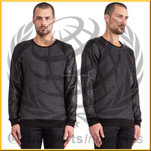 Leather sleeve Sweatshirt made in Pakistan