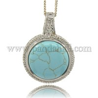 Flat Round Synthetic Turquoise Pendants, with Platinum Alloy Pendant Bails, 51x36.5x12mm, Hole: 7mm