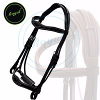 Royal Wave Dressage Bridle with Punch and Loop Stylish Head Piece & PP Rubber Grip Reins./ S.S Buckles./ Small (Pony Size.)