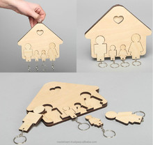 Plywood blank key holder for painting or decoupage