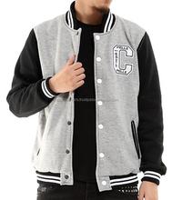 light grey with dark grey arms varsity jacket/ printed to your requirements/ cool varsity jacket