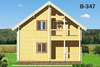 House from planed log b347, b350, b367, b380 in Russia