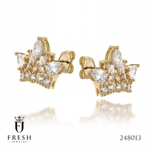 248013 - Crown Gold Plated Earring - Wholesale Gold Plated Jewellery, Gold Plated Jewellery Manufacturer, CZ Cubic Zircon AAA