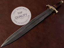 Sword by York Vivant-Custom Handmade Damascus Steel Blade Sword YV-AB107 Walnut Wood & Brass Guard Handle