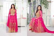 Designer gorgeous party wear & bridal wear riya sen collection pink & golden with heavy embroidered work salwar kameez