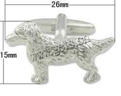 Zinc Alloy Cufflinks Dog platinum color 26x15mm 18mm 5x19mm Sold By Pair