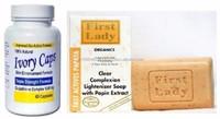 Glutathione Pills IvoryCaps Skin Whitening Lightening Pill Ivory Caps 100% Natural + FirstLady Skin Lightening Papaya Soap