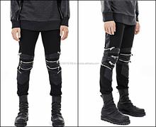 Dark Black Quilted Highest Version Stitching Leather Panel Multi Zip Skinny Biker Motorcycle Zipper Jeans