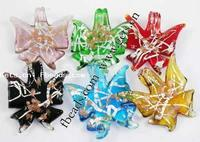 Animal Lampwork Pendants Butterfly mixed colors 45-52x48-52x6-7mm Hole:Approx 9mm 50PCs/Lot Sold By Lot