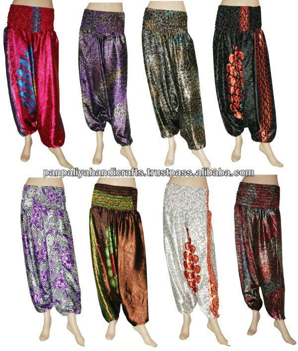 Original Design Elastic Waist Harem Pants Women Printing Long Indian Pants