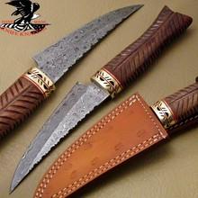 RARE CUSTOM HAND MADE DAMASCUS STEEL HUNTING SKINNER KNIFE S.09