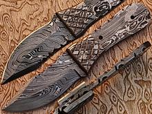 Hunting Knife, Custom Handmade Damascus Steel Fixed Blank Blade YV-455 Full Tang & Full Damascus