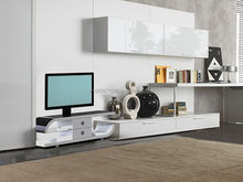 R142 LCD TV Stand MDF Luxury high-gloss Bent HPL Bracket ready Tempered glass Two closets cheap