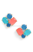 cluster Chalcedony stud earrings