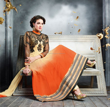 Orange and Cream color Fancy Long Designer Semi Stitch Salwar Kameez