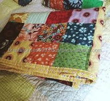 BRBQ- 17 Patchwork Handblock Baby Kantha quilt cover handmade cotton Bed Cover or Blanket Indian bedding bedspread ralli