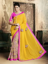 Yellow Georgette print Embroidered Half And Half Designer Saree