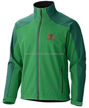 chin protection green softshell jacket / safety softshell jacket / wholsale waterproof winter softshell jacket