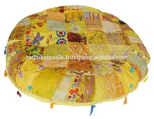 ARTHPF-12 khambadia work living room Round yoga Chair Pads Patchwork Modern embroidered Poufs ottomans Manufacturer Suppliers