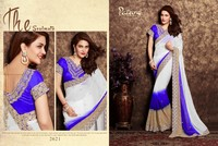 MULTI COLOR GEORGETTE CUT BORDER HAND WORK EMBROIDERY SAREE.