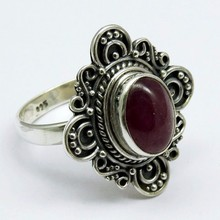 Designer Ruby 925 Sterling Silver Ring, Indian Fashion Silver Jewelry, Wholesale Silver Jewelry