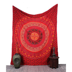 ETHNIC DECOR ART INDIAN MANDALA WALL HANGING Double TAPESTRY BEDSPREAD THROW