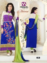 Designer printed straight long chudidar blue & parrot green party wear salwar suit