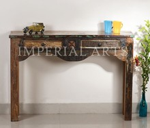 ANTIQUE RECYCLE WOOD CONSOLE TABLE WITH 2 DRAWER