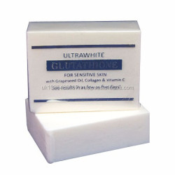 LOW PRICE PREMIUM ULTRAWHITE GLUTATHIONE WHITENING SOAP FOR SENSITIVE SKIN, W/ GLUTATHIONE, GRAPESEED OIL, COLLAGEN, VITAMIN C