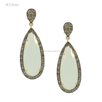 925 Sterling Silver Pave Diamond Chalcedony Drop Earrings Manufacturer Diamond Gemstone Earrings Jewelry Wholesale Supplier