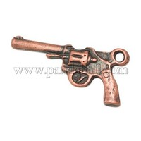 Alloy Gun Necklace Pendant, Revolver Pistol Charm, for 2012 London Olympic Jewelry, Red Copper, 23.5x12x3mm, Hole: 2mm