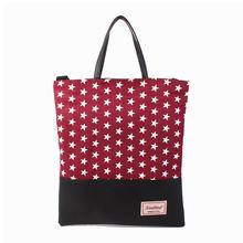 Korea 2015 eco-friendly wholesale star pattern cotton fabric school T-107 handbag