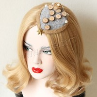 Gothic Hair Clip Felt with ABS Plastic Pearl & Wood & Zinc Alloy plated with 2 alligator hair clips 120x100mm 12PCs/Bag Sold By