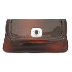 Brown Clutch Handbag Faux Leather Fabric Wallet Evening Party Purse Ladies Purse
