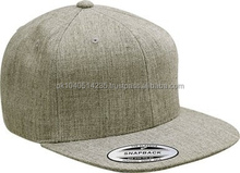 Snap back flat bill cap made of 80% acrylic & 20% wool