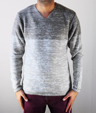 Wool Knit With V NECK Sweater for Men Speckle Shadow