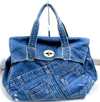 handbags japan wholesale hot selling cute blue denim jean handbags tote denim jeans bags with fake leather