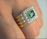 1.85ct Mens Diamond & Emerald Ring 14kt yellow Gold JEWELFORME BLUE Wholesale
