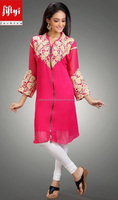Best Famous Buttoned Style & Centre Zip Of Baby Pink Tunic Top 2015