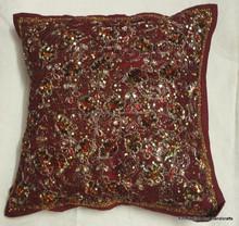 RTHCC-502 Antique Look Mirror Work Cushion Cover Decorative Sofa Pillow Cover Wall Decor Throws Jaipur