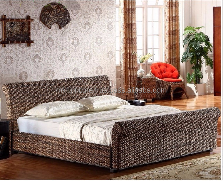 Wicker Rattan Bedroom Set Furniture Hand Woven By Wicker Hyacinth Wooden Frame Buy