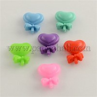 Kawaii Kids Hair Accessories Small Plastic Heart with Bowknot Hair Barrettes, Mixed Color, 21x16x8mm PHAR-Q017-MC
