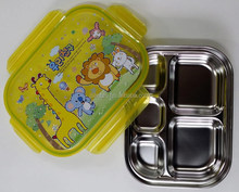 Stainless Steel Food Tray with Lid for Children