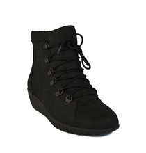 Rockport EVOSA Low Boots Black Leather Platform Wedge Womens