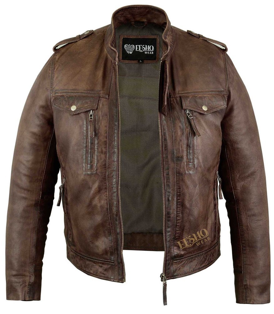 Coffee Brown Colour Fashion Leather Jacket For Men Wash Waxed Short Body Motorbike Style Leather ...