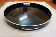 high quality lacquer tray round shape in Vietnam black color nice design lacquer tray